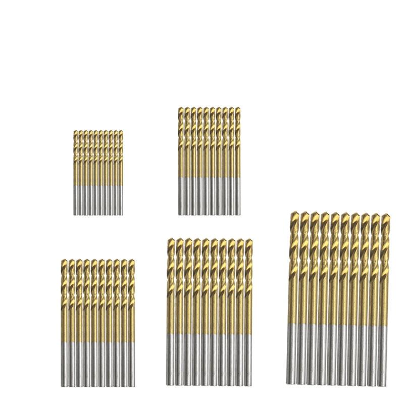 Broca de aço de alta velocidade revestida, 50 peças titânio revestido hss conjunto de ferramenta 1mm 1.5mm 2mm 2.5mm 3mm
