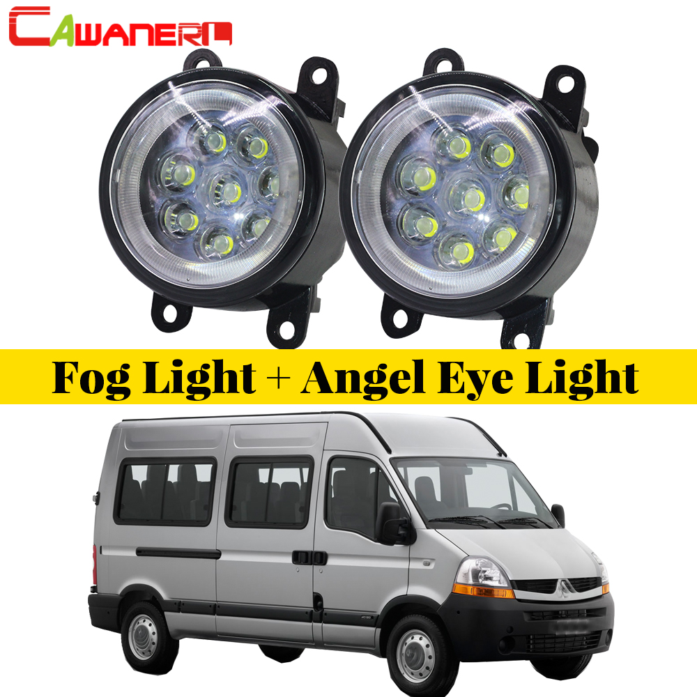 Cawanerl Car Accessories LED Fog Light Lamp Angel Eye DRL Daytime Running Light 12V 2 Pieces For 1998-2010 Renault Master II cawanerl for honda insight 2010 2014 car accessories 2in1 led fog light drl daytime running lamp white 5000k 12v 2 pieces