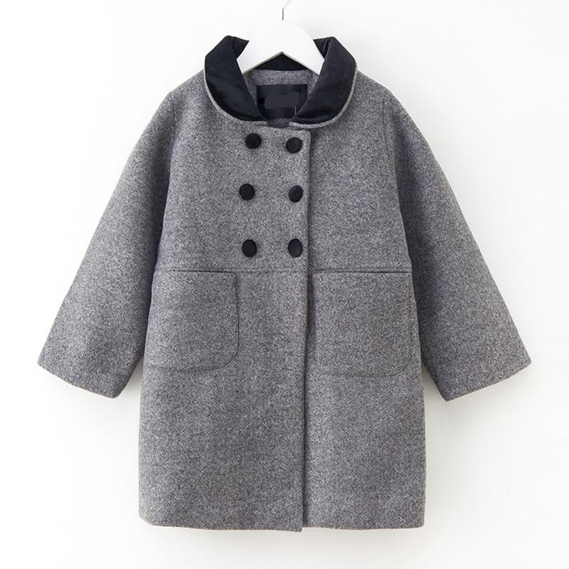 4 to 14 years kids & teenager girls wool blends front pocket fleece winter jacket children fashion pink gray coat outwear 4 to 14 years kids