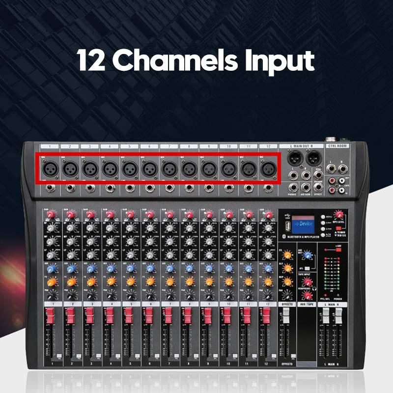 LEORY 12 canaux bluetooth numérique Microphone Console de mixage de son professionnel karaoké Audio mélangeur amplificateur avec USB - 6