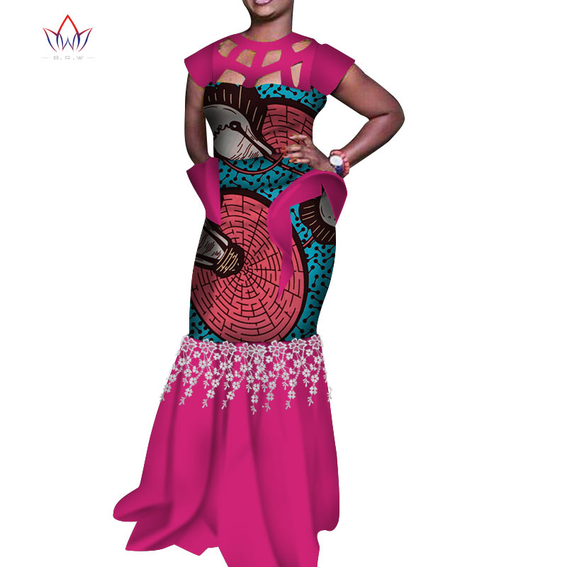 Bazin Riche African Hollow Collar Long Party Dresses For Women Dashiki Print  Lace Elegant Dresses Women African Clothing WY4998