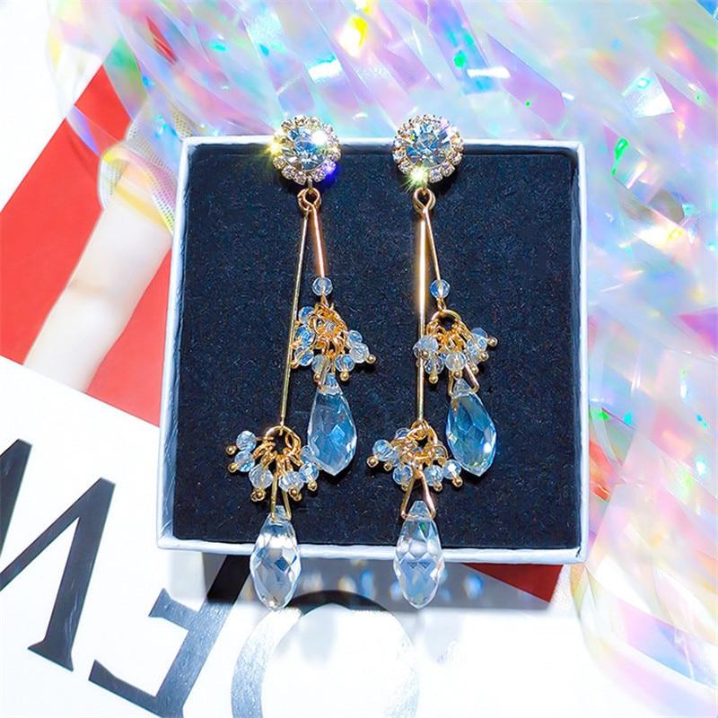 Korean Handmade Silver Needle Anti-allergy Grape Crystal Rhinestone Drop Dangle Earrings Fashion Jewelry-BYD5