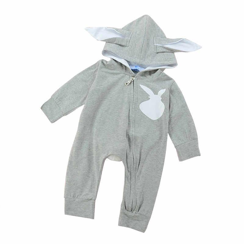 الوليد طفل الطفل الصبي فتاة الأذن أرنب رومبير القطن Zipple بيبي الأطفال بذلة القماش