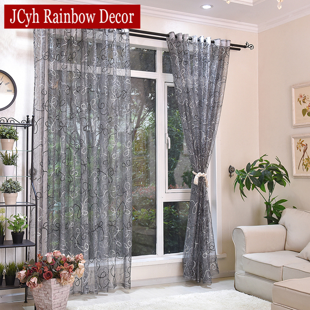 Silver Solid Embroidered Curtains 3