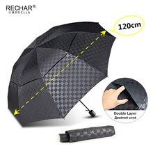 Doble capa oscuro Paraguas grande con diseño de cuadrícula de lluvia de las mujeres 3 plegable 10Rib a prueba de viento de los hombres de negocios Paraguas viajes de familia Paraguas Parasol