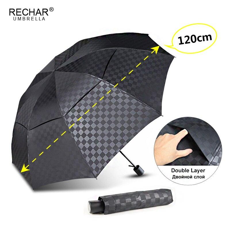 Doble capa oscuro red gran Paraguas de lluvia de las mujeres 3 plegable 10Rib a prueba de viento de los hombres de negocios Paraguas viajes de familia Paraguas sombrilla
