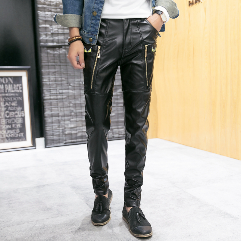 New 2016 Hip Hop Mens Black Leather Pants Faux Leather Pu Material Black Color Motorcycle Skinny
