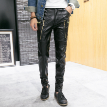 New 2016 Hip Hop Mens Black Leather Pants Faux Leather Pu Material Black Color Motorcycle Skinny Faux Leather Trouser