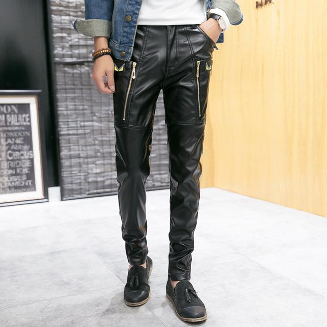 Nuevo 2016 Hip Hop Hombres Pantalones de Cuero de Imitación de Cuero Negro de La Pu Material de Color Negro de La Motocicleta Flaco Faux Pantalones De Cuero