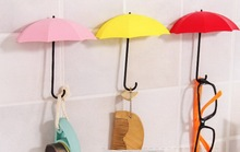 by dhl 100set 3pcs/set Umbrella Shaped Creative Key Hanger Rack Decorative Holder Wall Hook Kitchen Organizer Bathroom Accessory