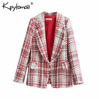 Vintage Frayed Tassel Tweed Plaid Basic Blazers Coat Women 2019 Fashion Notched Collar Long Sleeve Outerwear Casual Casaco Femme