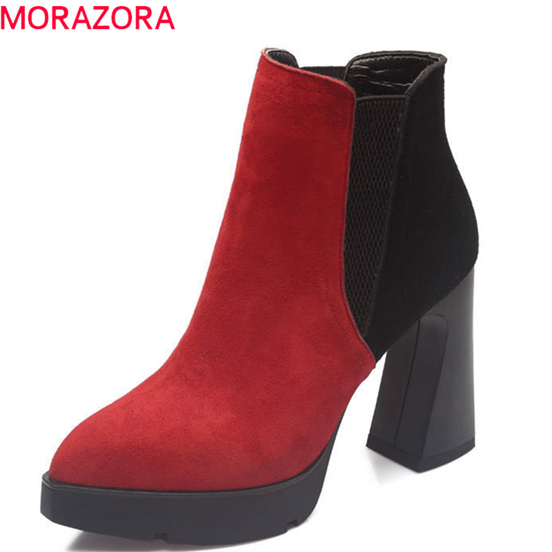 MORAZORA 2018 new suede leather pointed toe boots mixed colors ankle boots for women autumn winter platform high heels shoes printing new boots 2015 autumn winter genuine leather mixed colors thick with pointed toe woman boots stylish comfortable shoes