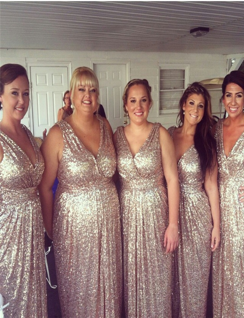 Gold sequin bridesmaid dress floor length robe demoiselle d honneur gold sequin bridesmaid dress floor length robe demoiselle d honneur vnaix gowns v neck sheath champagne gold bridesmaid gowns in bridesmaid dresses from ombrellifo Choice Image