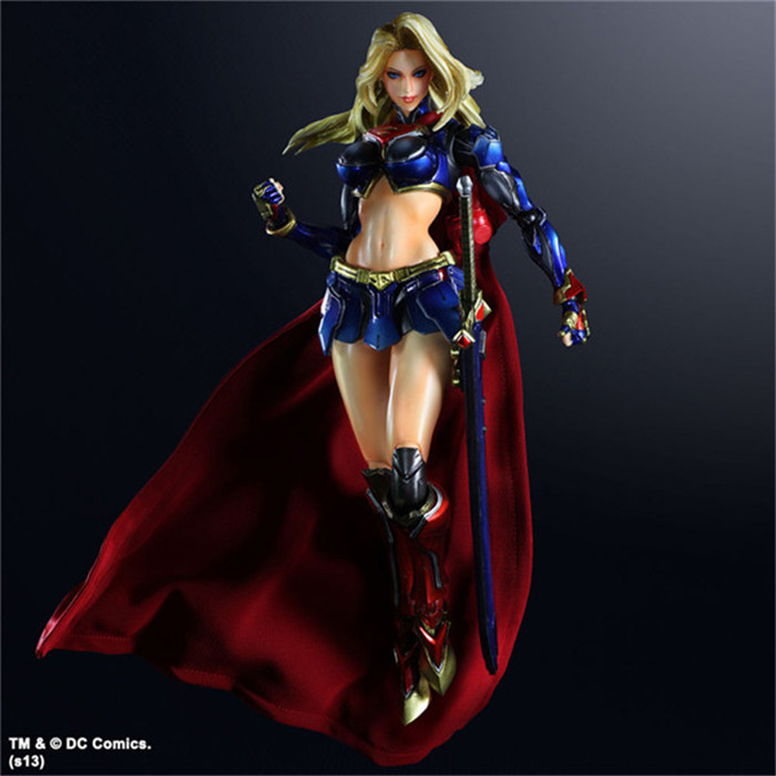 Supergirl Action Figur Play Arts Kai Flyttbara PVC Leksaker 260mm Anime Modell Super Woman Playarts Kai Toy