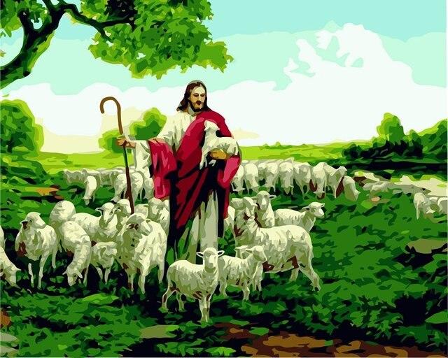 Us 169 Rahmenlose Diy Farbe Durch Zahl Jesus Unserer Schafe öl Leinwand Malen Nach Zahlen Bild Wohnzimmer Malen Nach Zahlen Kit 40x50 Cm In