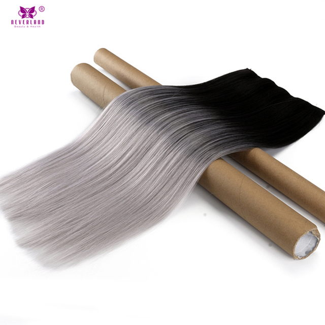 "Neverland 24"" One Piece Straight Synthetic Ombre Silver Grey Clip in Hair Extensions Hair Hairpiece High Temperature Fiber"