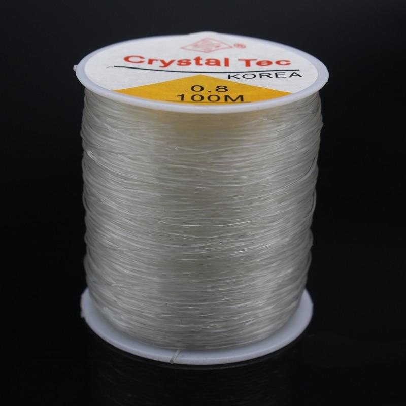 100M Round Crystal Elastic Line Dia 0.8mm Transparent White Cushion String Rope DIY Jewelery Bracelet Making Supplies