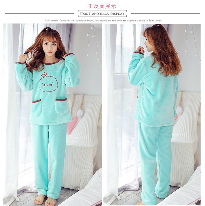 High Quality Women Pajama Sets Winter Soft Thicken Cute Cartoon Flannel Sleepwear 2 pcs/Set Tops + Warm Pants Home Clothes Mujer 112