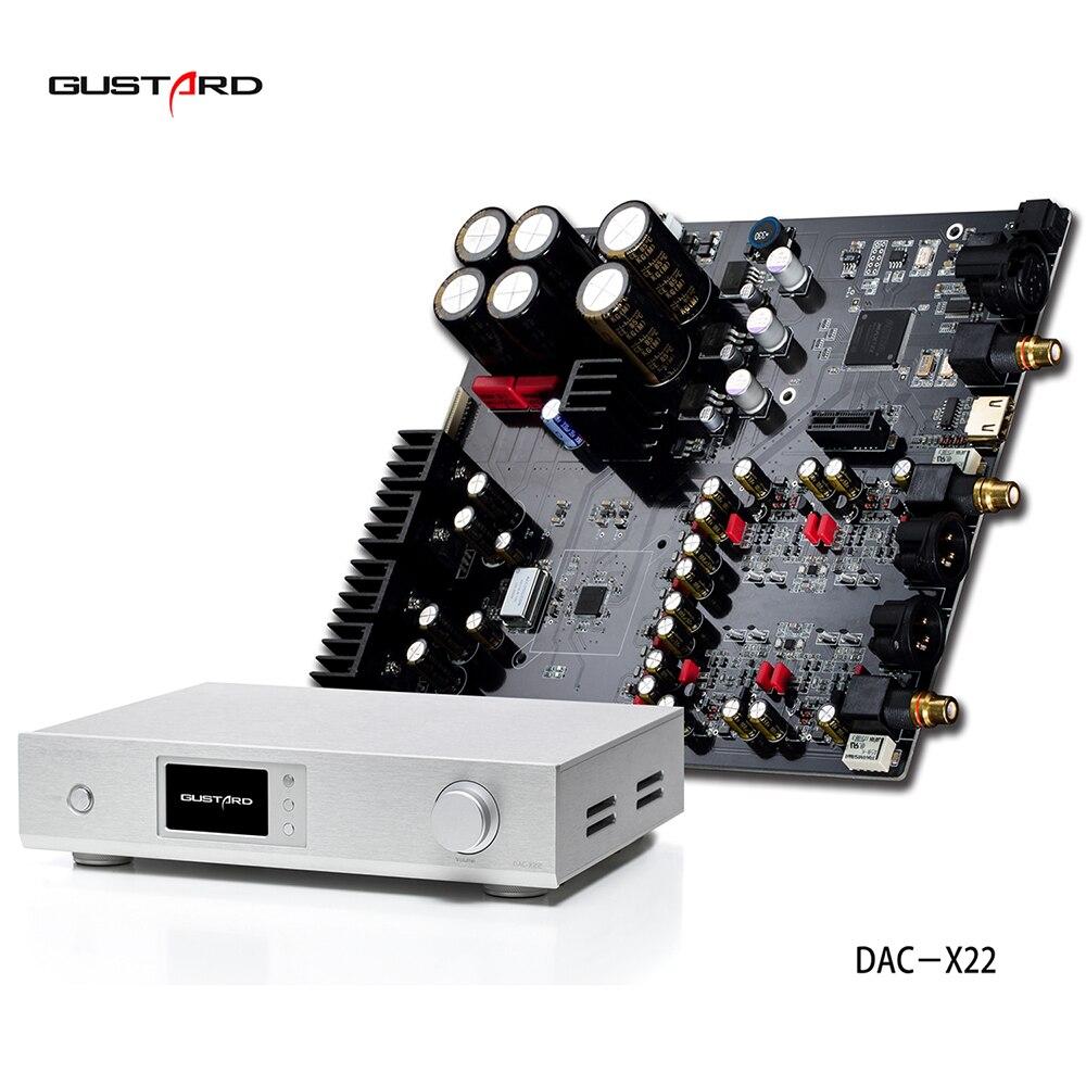 2018 haut de gamme GUSTARD de DAC-X22 ES9038PRO I2S XMOS HiFi DAC PCM384K DSD512 DOP Décodeur complet interface prend en charge DSD DOP