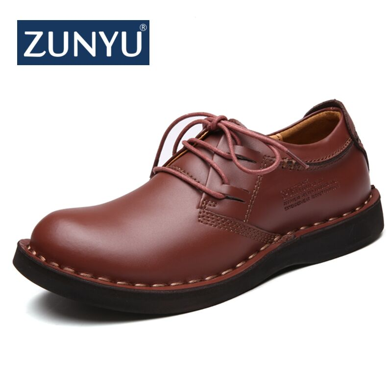 ZUNYU 2019 New Classic Vintage Genuine Leather Tooling Casual Shoes Men High Quality Footwear Man Shoes Comfortable Soft Walking