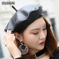 SILOQIN Winter Women's Cap Genuine Leather Trend Berets For Women Sheepskin Leather British Casual Jazz Hats Brands Feminine Hat