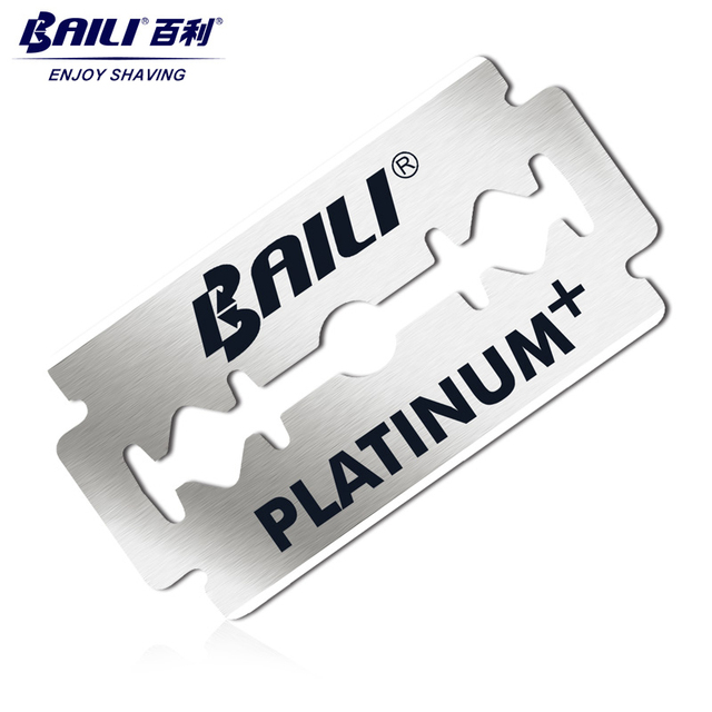 BAILI 5pcs Men's Barber Super Sharp Razor Shaver Blades Double Edge Platinum Stainless Steel for Beard Hair Shaving BP007A 1