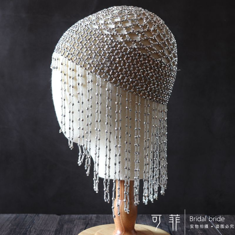 1920s Beaded Cap Headpiece Roaring 20s Beaded Flapper Headpiece Belly Dance Cap Exotic Cleopatra Headpiece for Gatsby Themed Party (Silver)  (3)