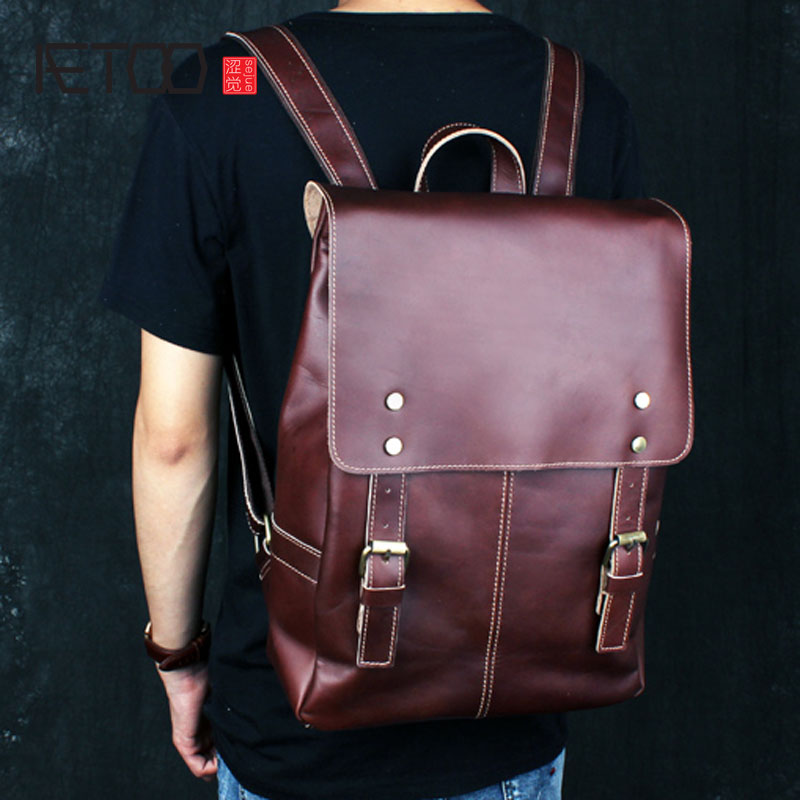 AETOO Original shoulder bag leather retro backpack business computer bag head layer leather travel male bag college wind three layers 2 2l electric lunch box stainless steel plug in insulation heating lunch box cooking high capacity mini cooker