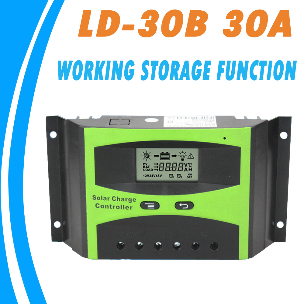 30A 24V 12V Battery Charger Controller PWM LCD Settable Parameter with Discharge Capacity Control and Load Light Timer Control30A 24V 12V Battery Charger Controller PWM LCD Settable Parameter with Discharge Capacity Control and Load Light Timer Control