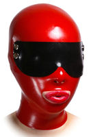 MONNIK latexRed Black BMask Molded Latex Hood Eye mask With Goggles Gummy Rubber Mask Options