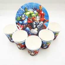 20pc/set Avengers Kids Birthday Party Supplies Plate Cup Favors Superhero Decodration Baby shower Tableware