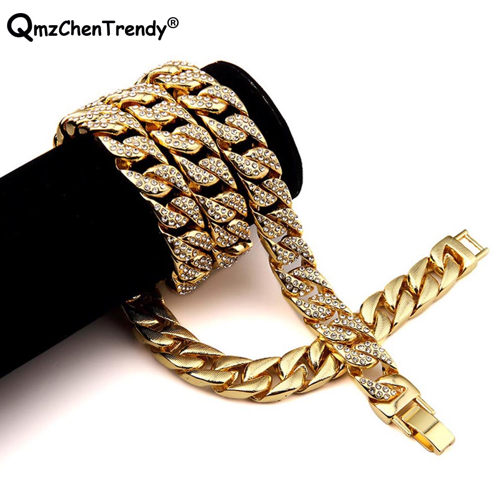 2bdc80a33d Hip hop Bling Iced Out Full Rhinestone Miami Cuban Chain Men Necklace Gold  Silver Cubra CZ Punk Male Rock Link Jewelry