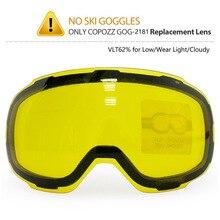 COPOZZ 원래 GOG 2181 렌즈 스키 고글 Anti fog UV400 구형 스키 안경 야간 스키 렌즈에 대 한 노란색 Graced 자기 렌즈