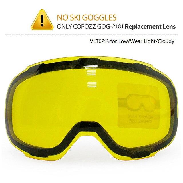 COPOZZ Lentes de GOG 2181 originales, lentes magnéticas con grapas amarillas para gafas de esquí, antiniebla, UV400, esféricas para esquí nocturno
