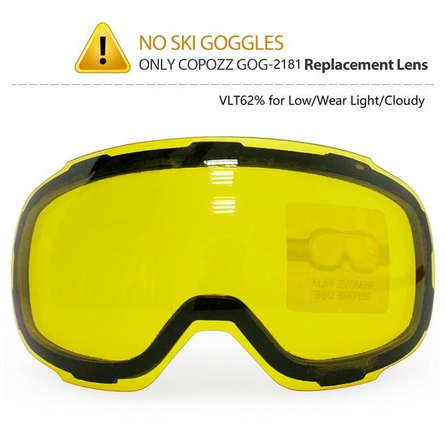 COPOZZ Original GOG 2181 Lens Yellow Graced Magnetic Lens for Ski Goggles Anti fog UV400 Spherical Ski Glasses Night Skiing Lens