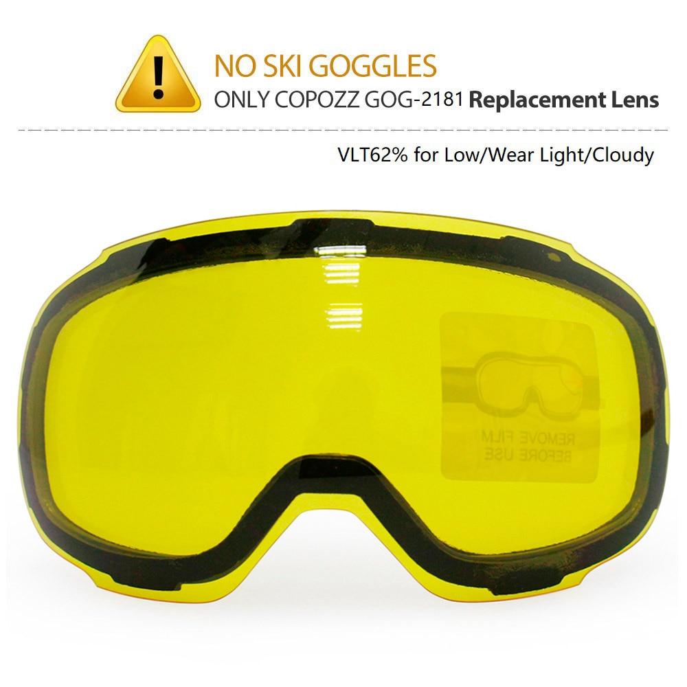 COPOZZ Original GOG-2181 Lens Yellow Graced Magnetic Lens for Ski Goggles Anti-fog UV400 Spherical Ski Glasses Night Skiing Lens