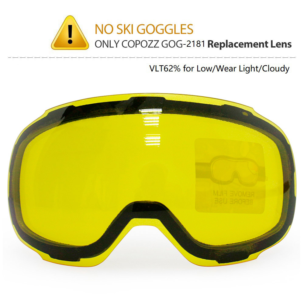 COPOZZ Original GOG-2181 Lens Yellow Graced Magnetic Lens for Ski Goggles Anti-fog UV400 Spherical Ski Glasses Night Skiing Lens