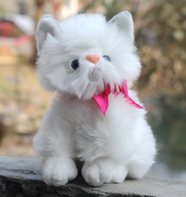 3556bd28635 선물 아기 1 개 22 센치메터 귀여운 시뮬레이션 달콤한 bowknot 고양이 봉제 인형 홈 장식 참신 어린이 장난감