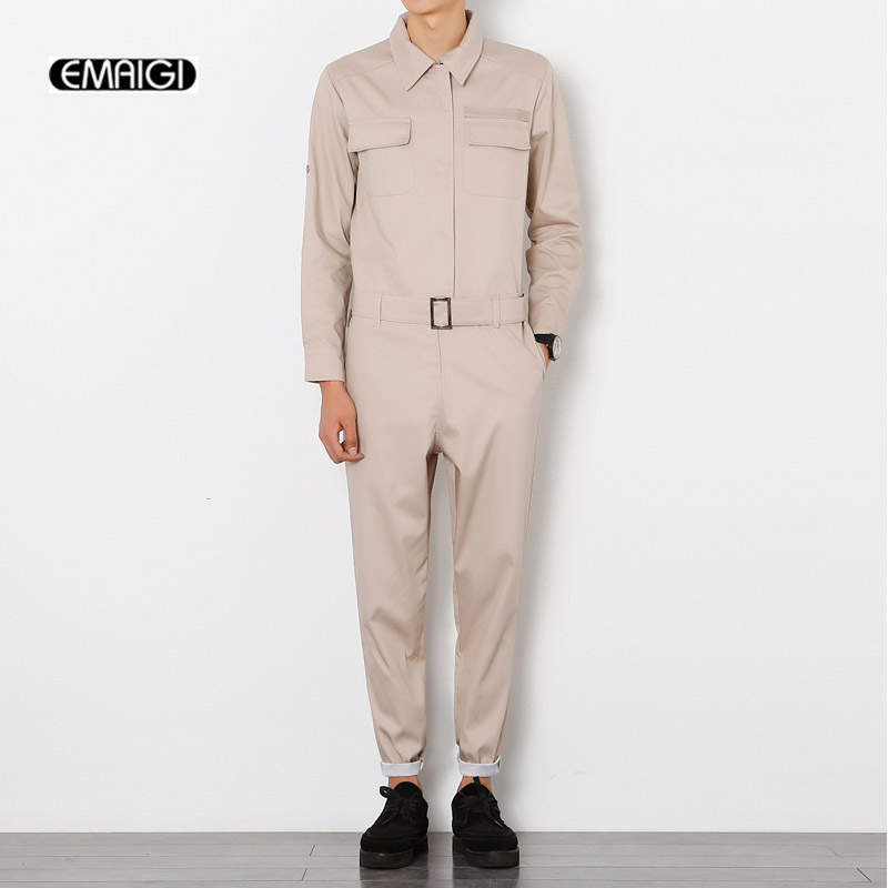 New Men Jumpsuit Male Long Sleeve Cargo Pant A Piece Pants Overalls Tooling Hip-hop Casual Fashion Trousers Pants Men's Clothing