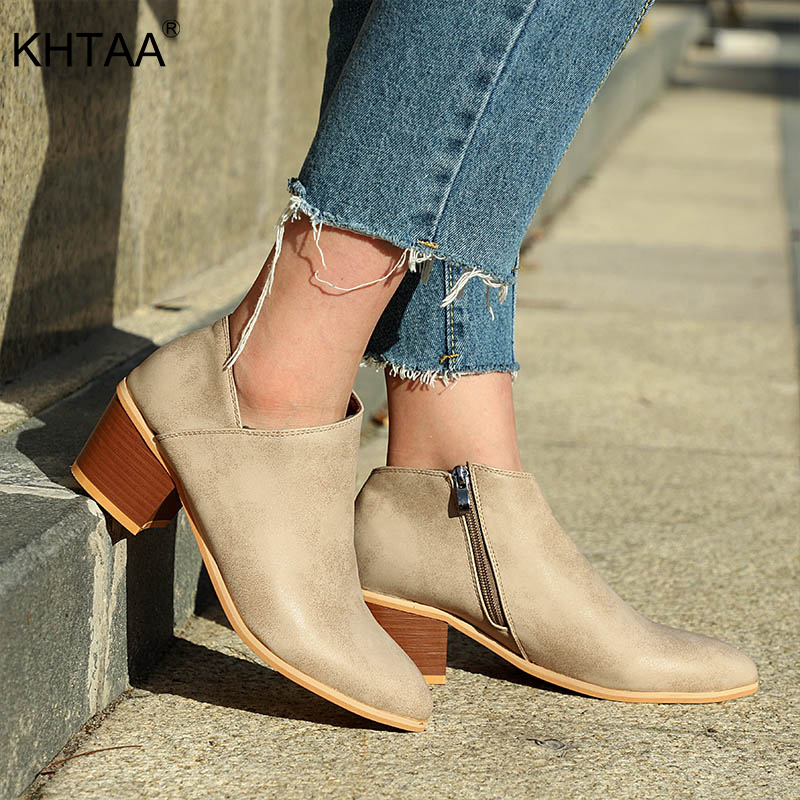 KHTAA Women Round Toe Zip Chunky Med Heels 2018 Ankle Boots Plus Size Autumn Fashion Comfortable Shallow Female Casual Shoes drop shipping fashion women black buckle zip side round toe star low heels comfortable rivets plus size short ankle boots lady