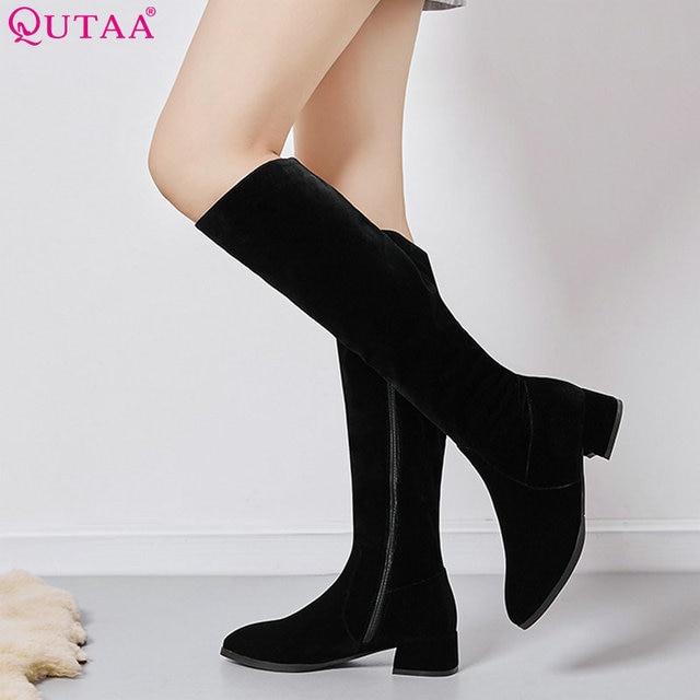 91a0463d9d1 QUTAA 2019 femmes genou bottes hautes tout Match plate-forme Zipper bout  pointu vache daim