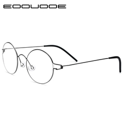 Ultraleicht Titan Felge Morten Koreanische Runde Brille Rahmen Männer Myopie Brillen Optische Rahmen Frauen Keine schrauben Brillen