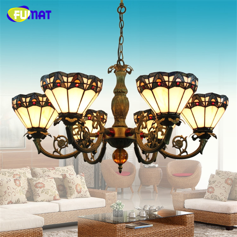 FUMAT Glass LED Chandliers Lights For Living Room Brief Stained Glass Lamps Vintage Baroque Artistic led Chandelier Lightings fumat stained glass pendant lamps european style glass lamp for living room dining room baroque glass art pendant lights led