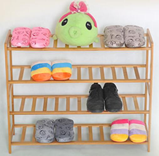 Four-Layer Bamboo Wood Shoe Rack Fashion Living Room Shoe Rack Creative Shoe Storage Holder стоимость
