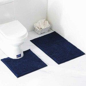 Image 3 - 2 adet/takım Shaggy kaymaz Banyo Tuvalet Paspas Seti Şönil Emici Banyo Halısı Ayaklı Küvet Mat