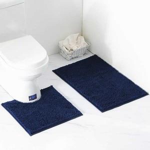 Image 3 - 2 teile/satz Shaggy Anti slip Bad Wc Matten Set Chenille Saugfähigen Bad Teppich Sockel Bad Matte