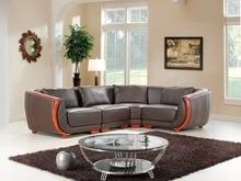 Genuino/cuero real sofá de la sala sofá seccional/esquina sofá muebles para el hogar sofá/L forma con madera apoyabrazos y respaldo