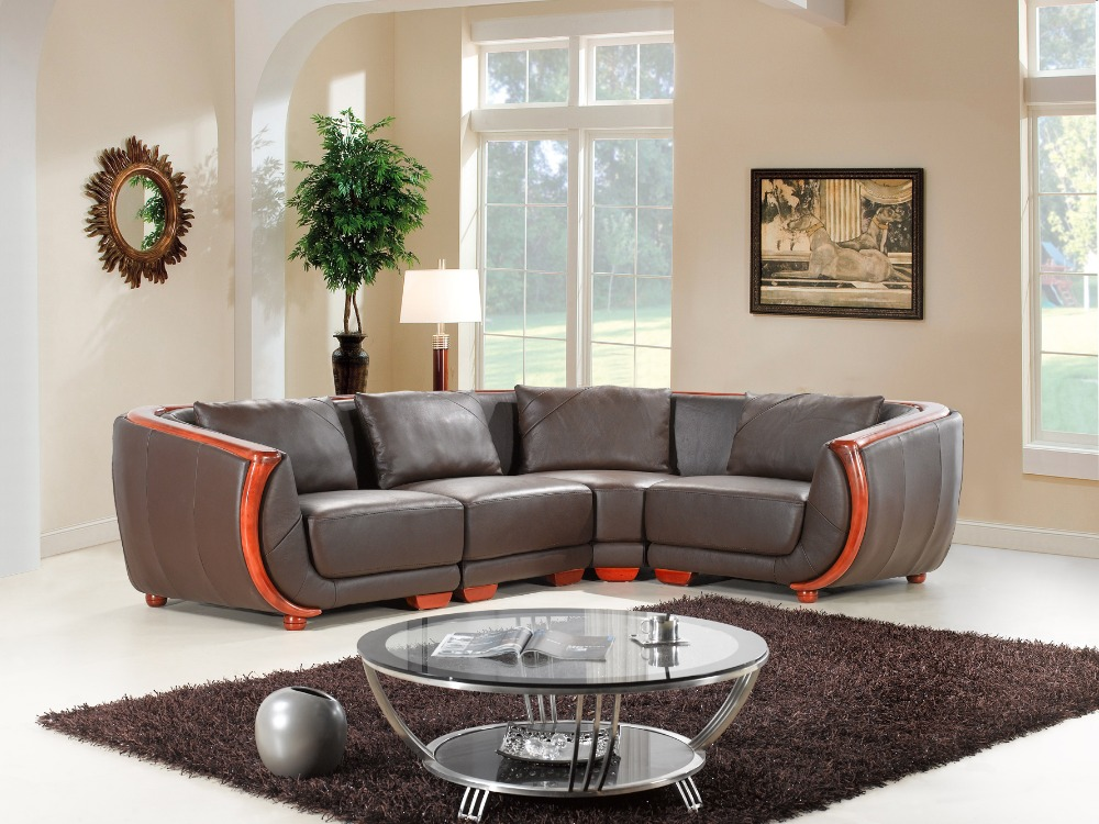 genuine/real leather sofa living room sofa sectional/corner sofa  home furniture couch/ L shape with wooden armrest and backrest free shipping european style living room furniture top grain leather l shaped corner sectional sofa set orange leather sofa