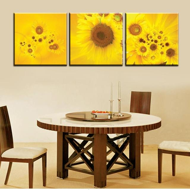 2017 3 Piece Sunflower Wall Painting Modern Abstract Large Flowers ...