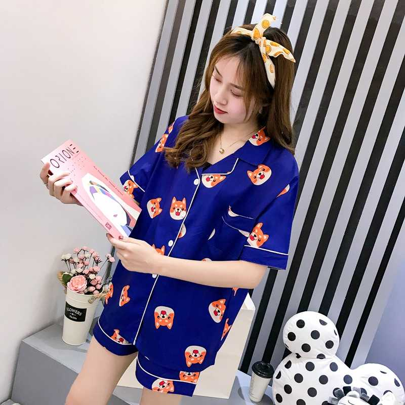 Women Pajama Set Summer Cartoon Harajuku Shiba Inu Printed Kawaii Pyjamas Korean Japanese Anime Dog Pijama Mujer Silk Sleeepwear
